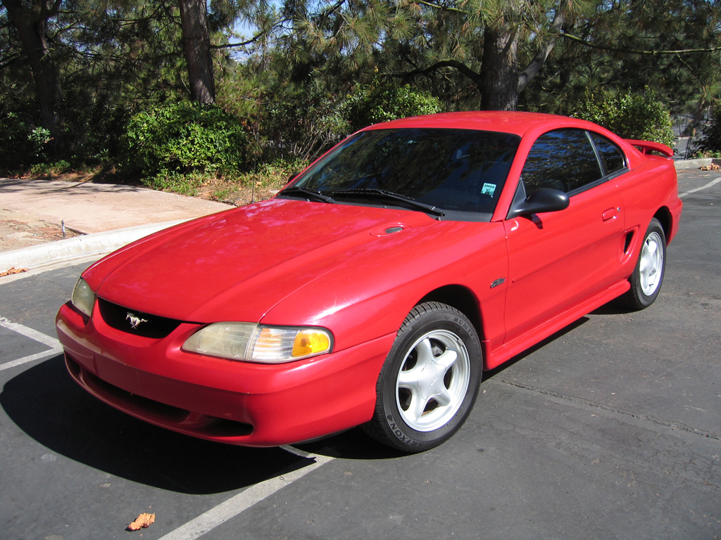 Front view of my 2007 red ford mustang gt