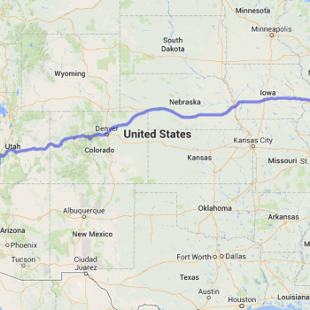 map showing the full route from benton harbor to san diego