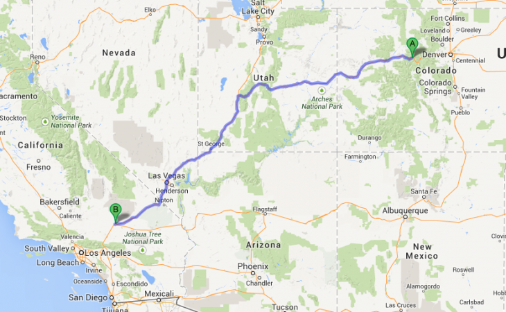 vail to barstow map