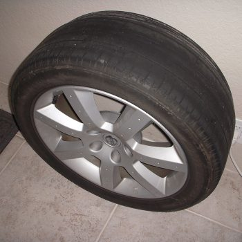 bald tire on nissan 350z wheel