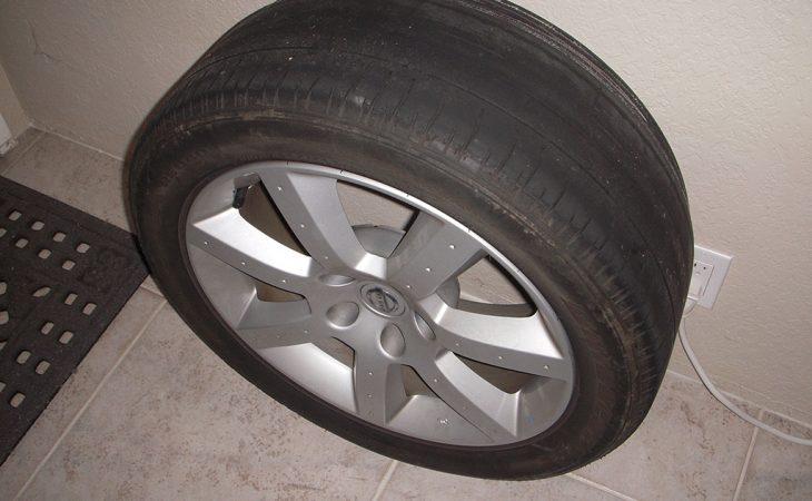 bald tire on nissan 350z wheel