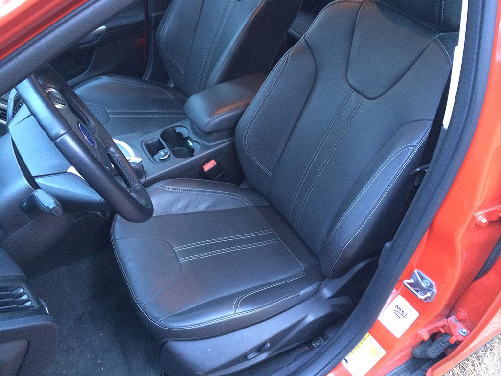 black leather front seats