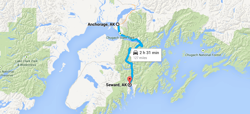 Anchorage to Seward route map