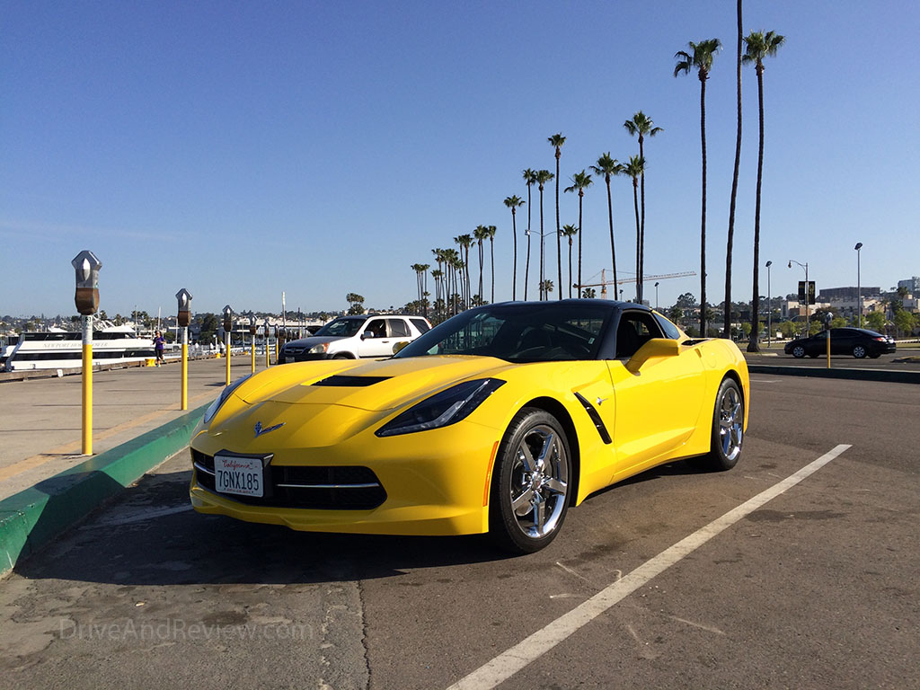 c7 corvette and palm trees