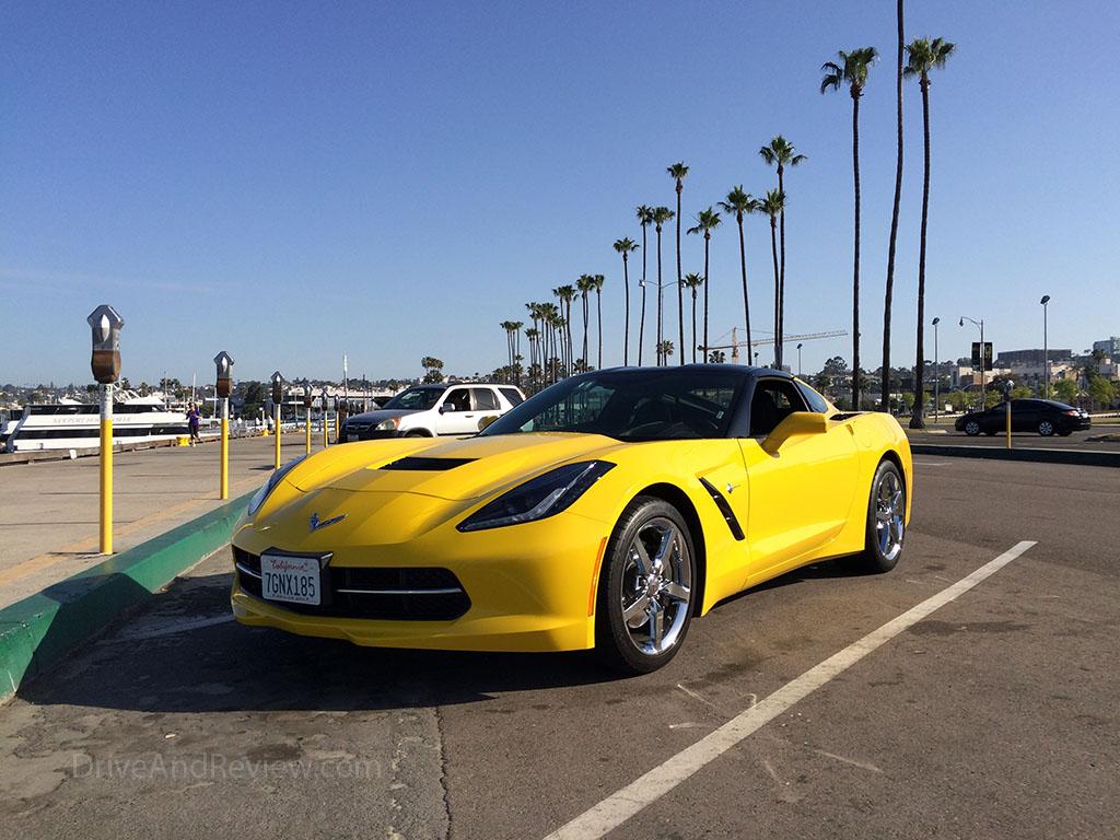 c7 corvette and palm trees