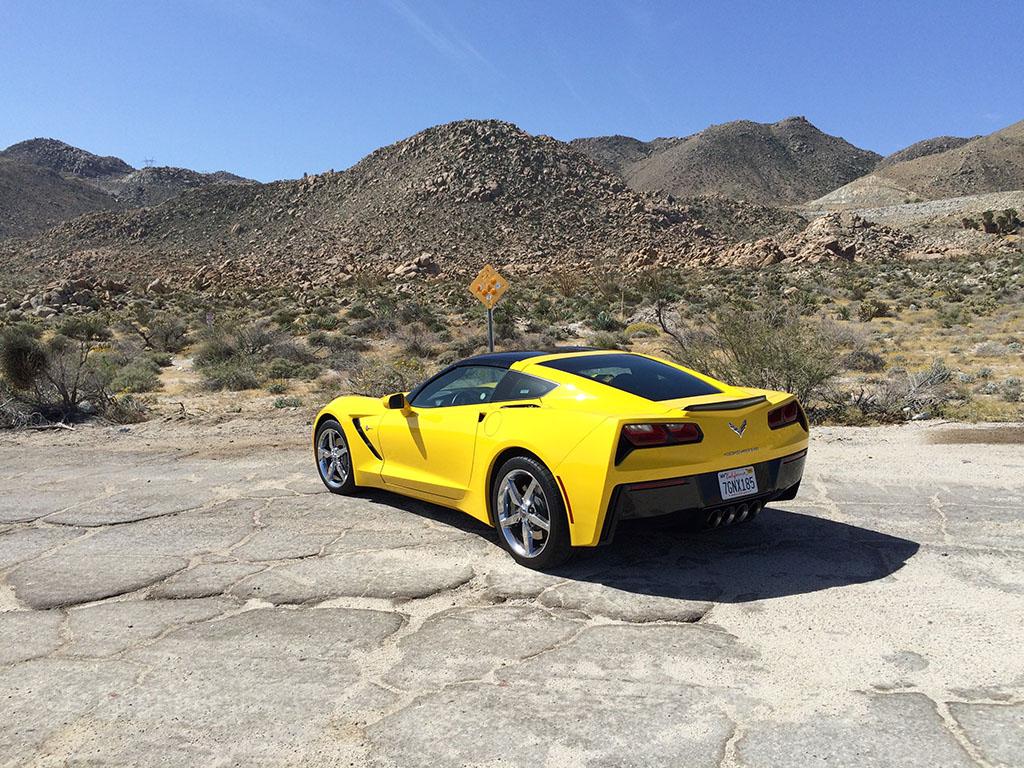 corvette in the southern california desert