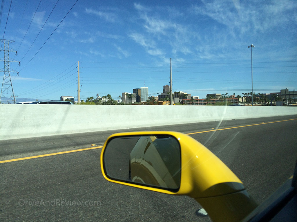 Tucson, Arizona from the window of a corvette