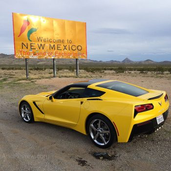 corvette at the New Mexico state line along I-10 east