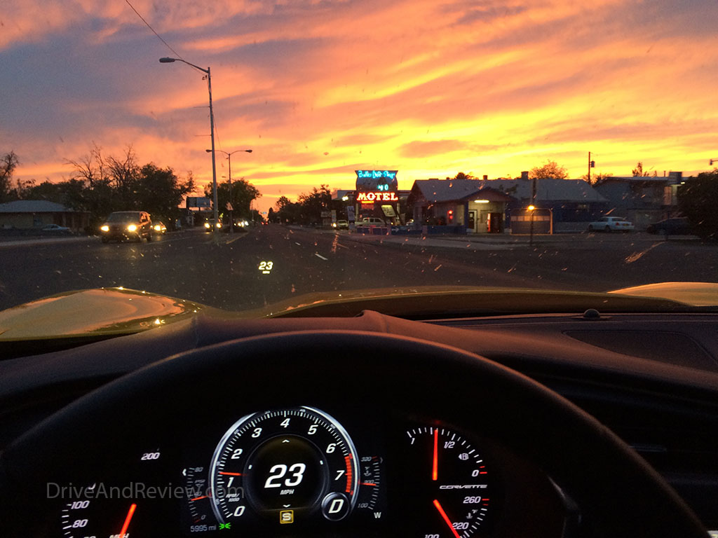 sunset with corvette interior