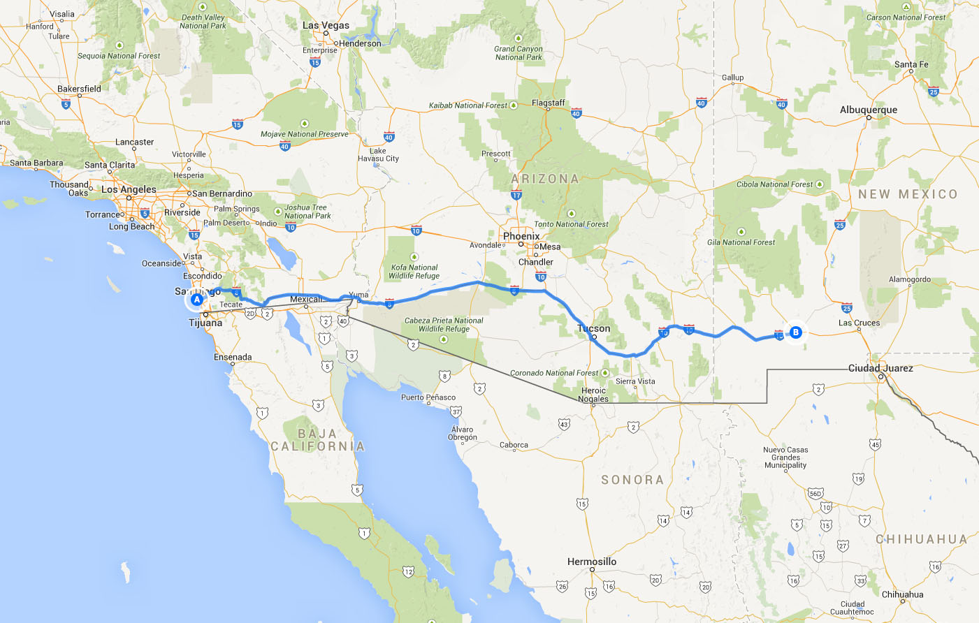 driving from San Diego to New Mexico