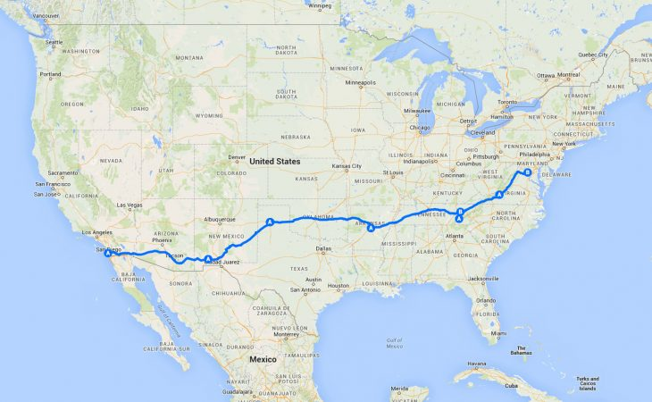 cross country road trip map