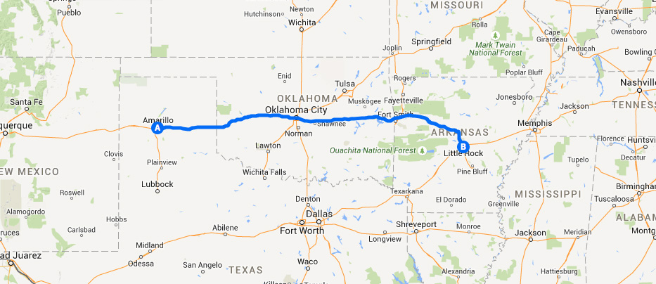 Cross country road trip day 3 Amarillo TX to Maumelle AR