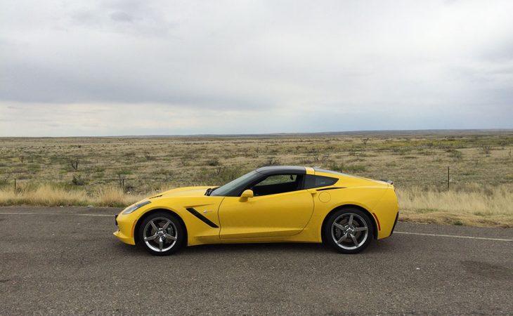 Yellow C7 corvette in new mexico