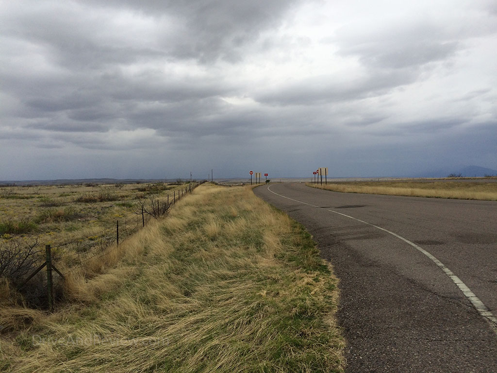wind swept grass and dark clouds route 380 new mexico