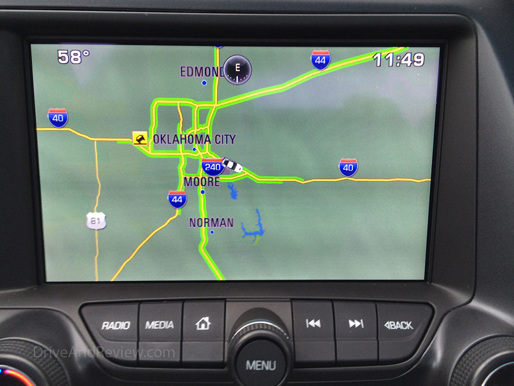 oklahoma city on the nav system display