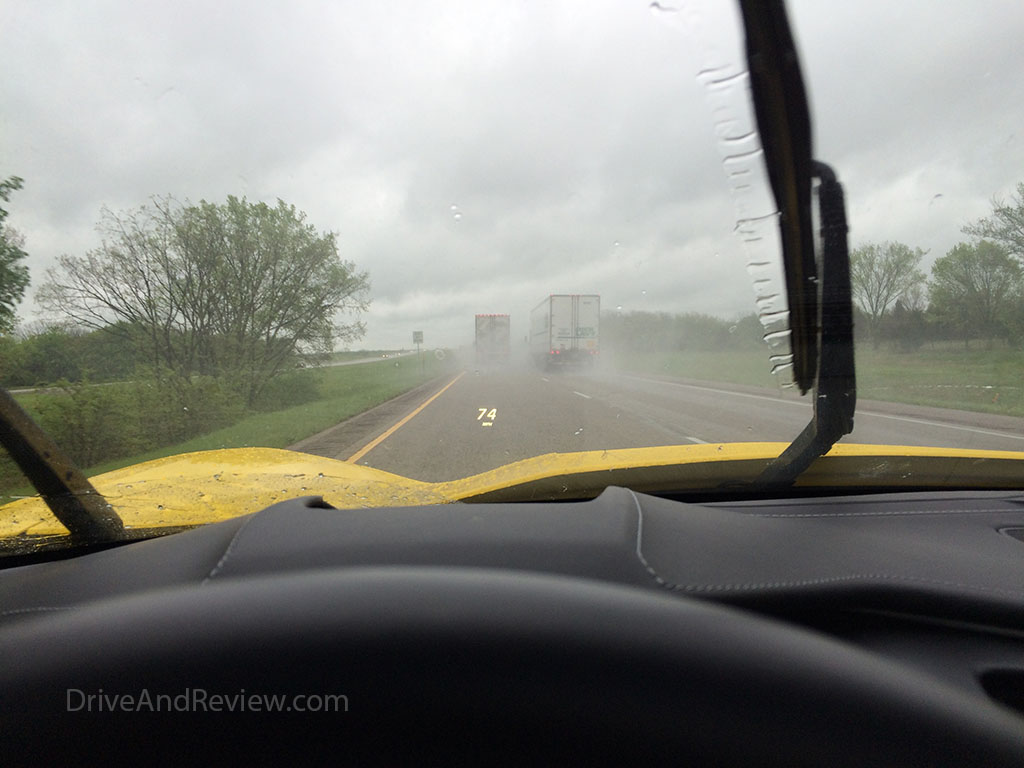 driving the corvette in the rain