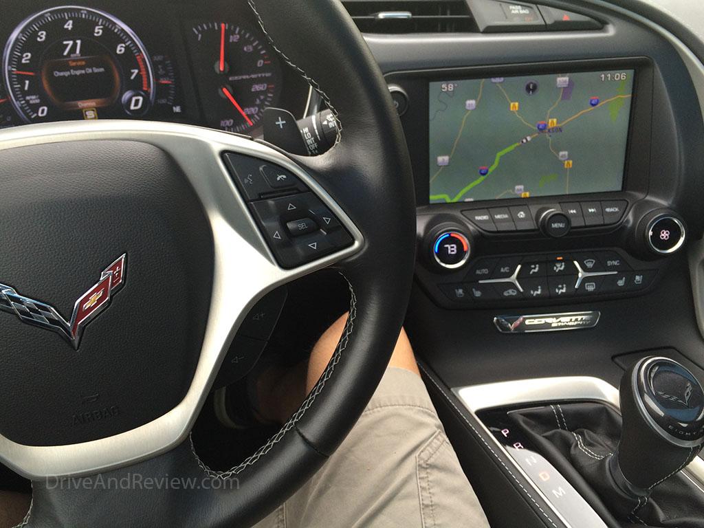 c7 corvette interior showing nav screen