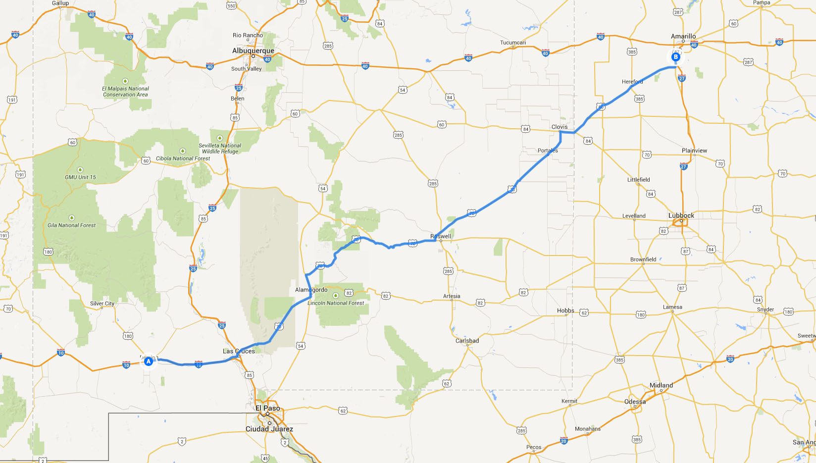 route from deming to amarillo