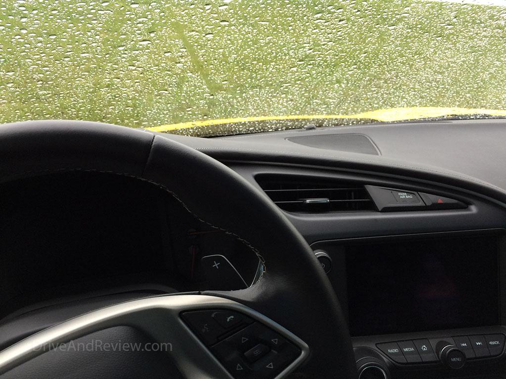 wet corvette windshield