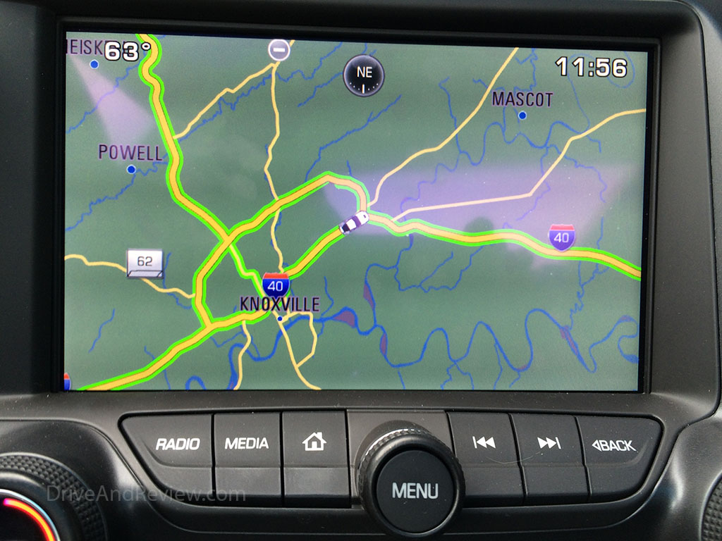 knoxville showing on the corvette navigation system