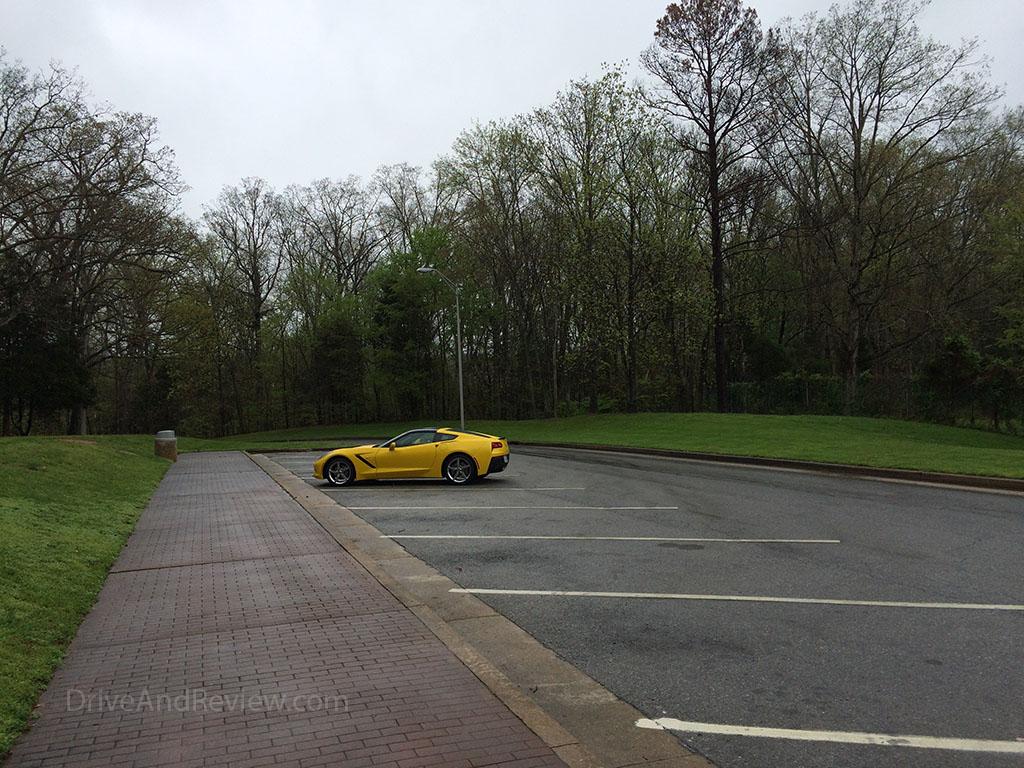corvette parked at a rest area