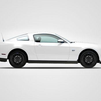 white mustang black wheels