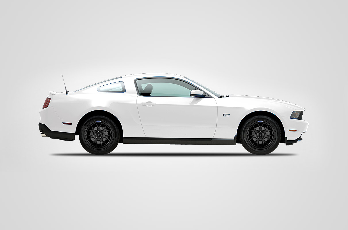 white mustang black wheels