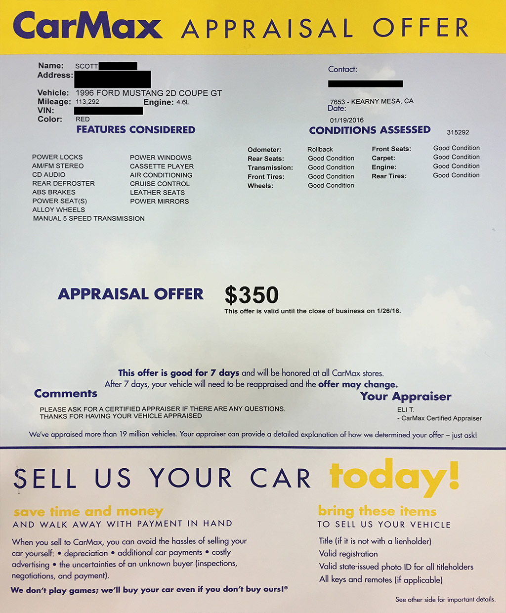 CarMax appraisal offer