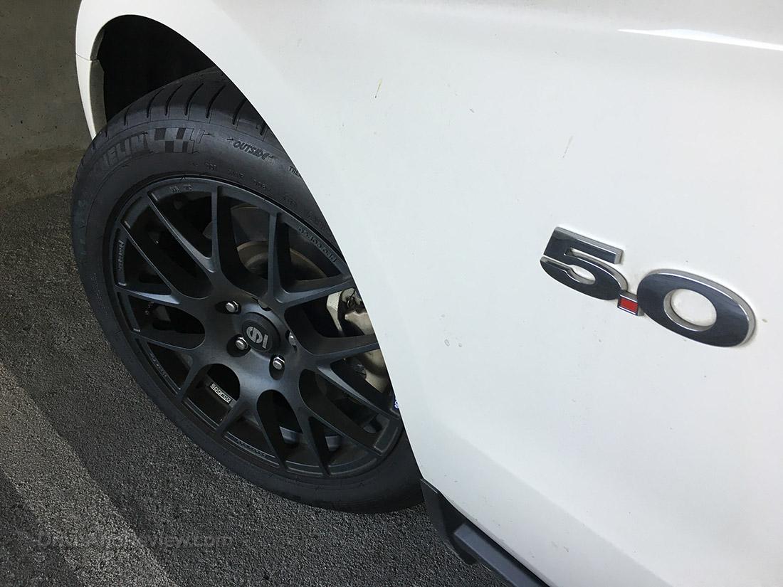 black wheels white mustang