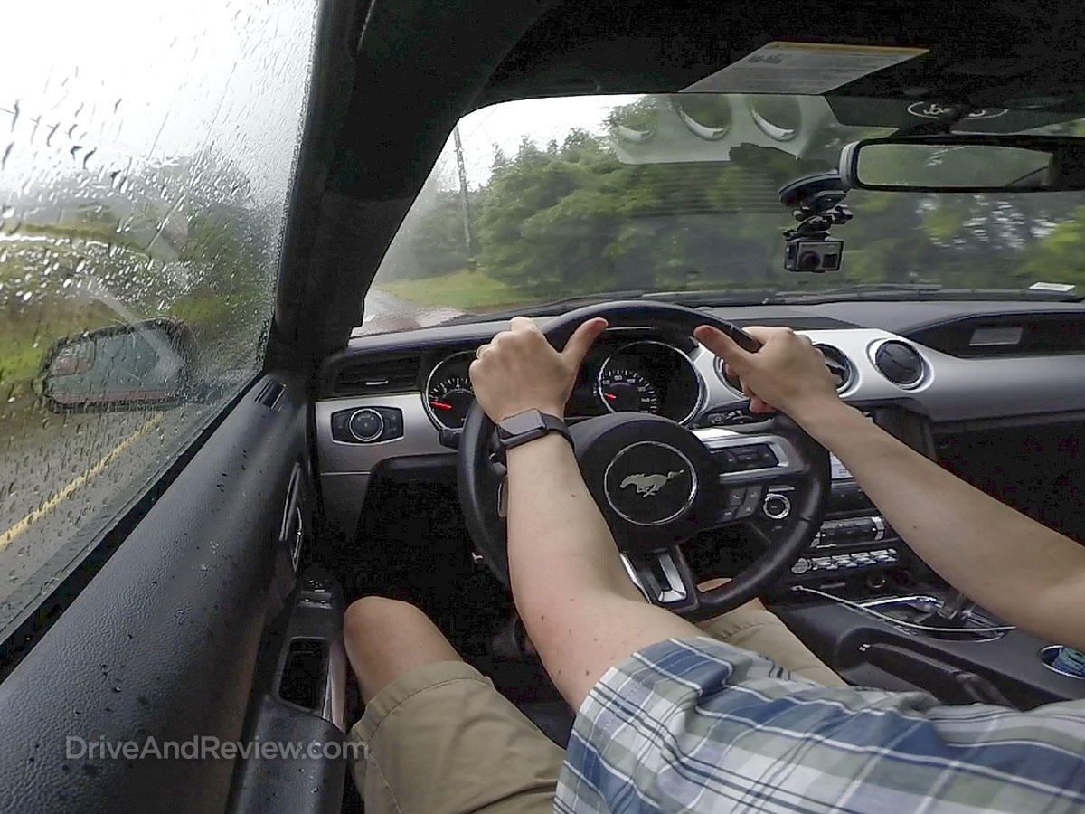 driving mustang in the rain