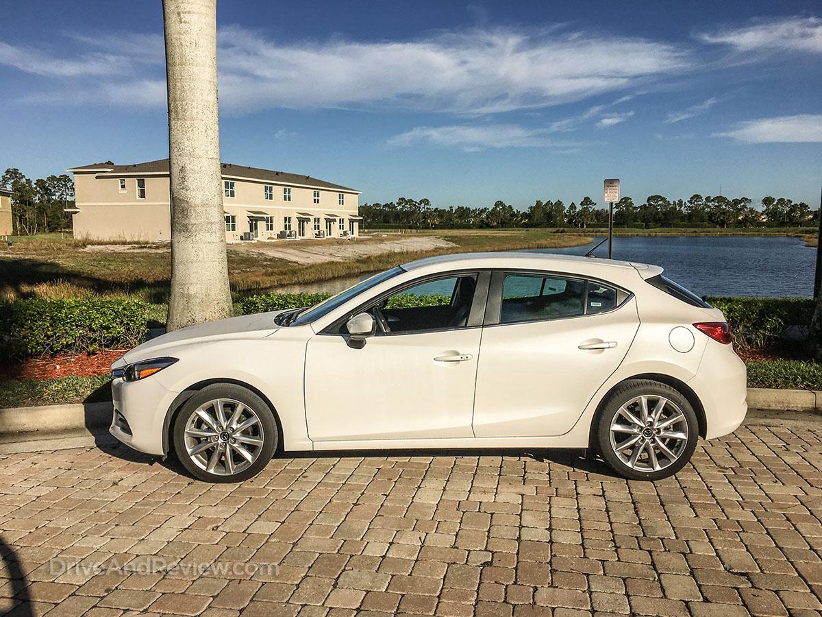 2017 white Mazda 3 hatchback