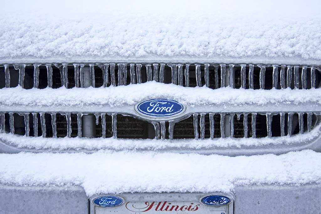 Ford car in snow and ice
